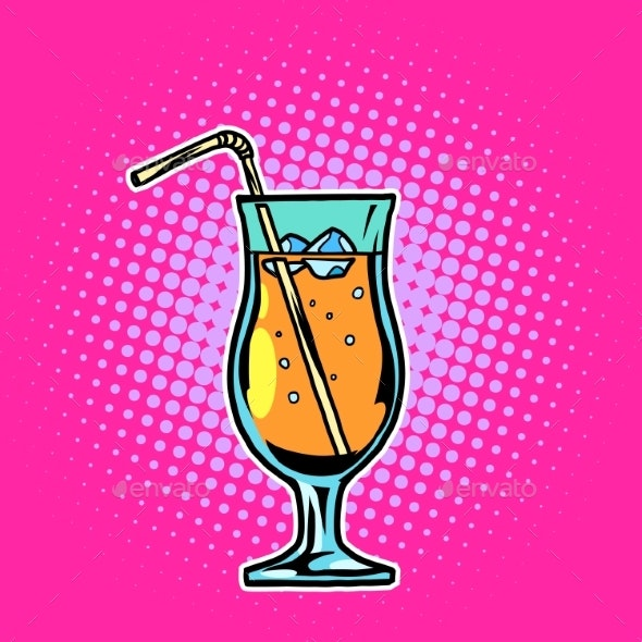 Cocktail Drink with Straw and Ice - Food Objects