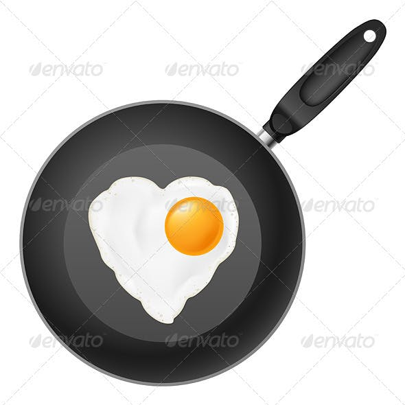 Frying pan with egg