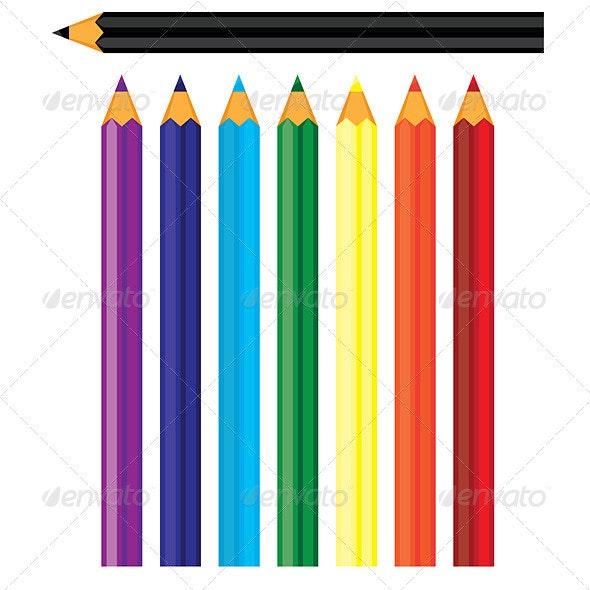 Coloured pencils - Objects Vectors
