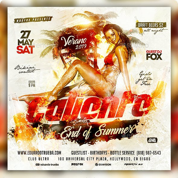 Caliente End of Summer Party Flyer