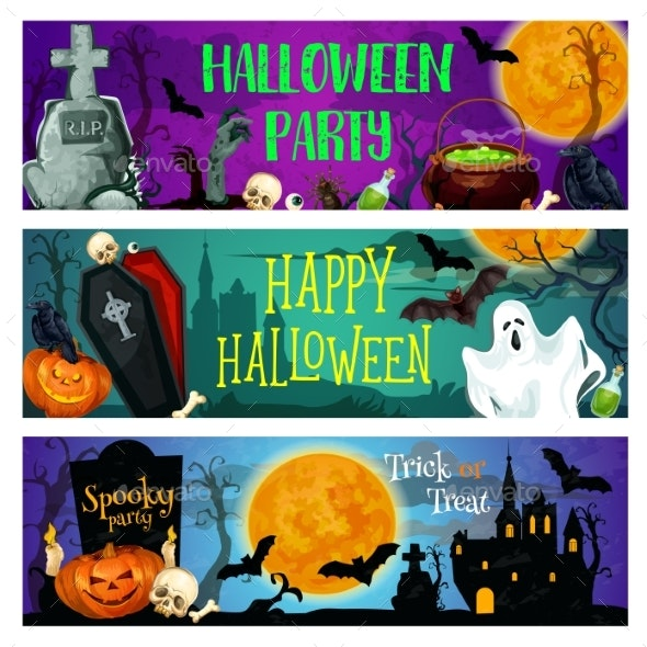 Halloween Party Banner with Ghost on Cemetery - Halloween Seasons/Holidays