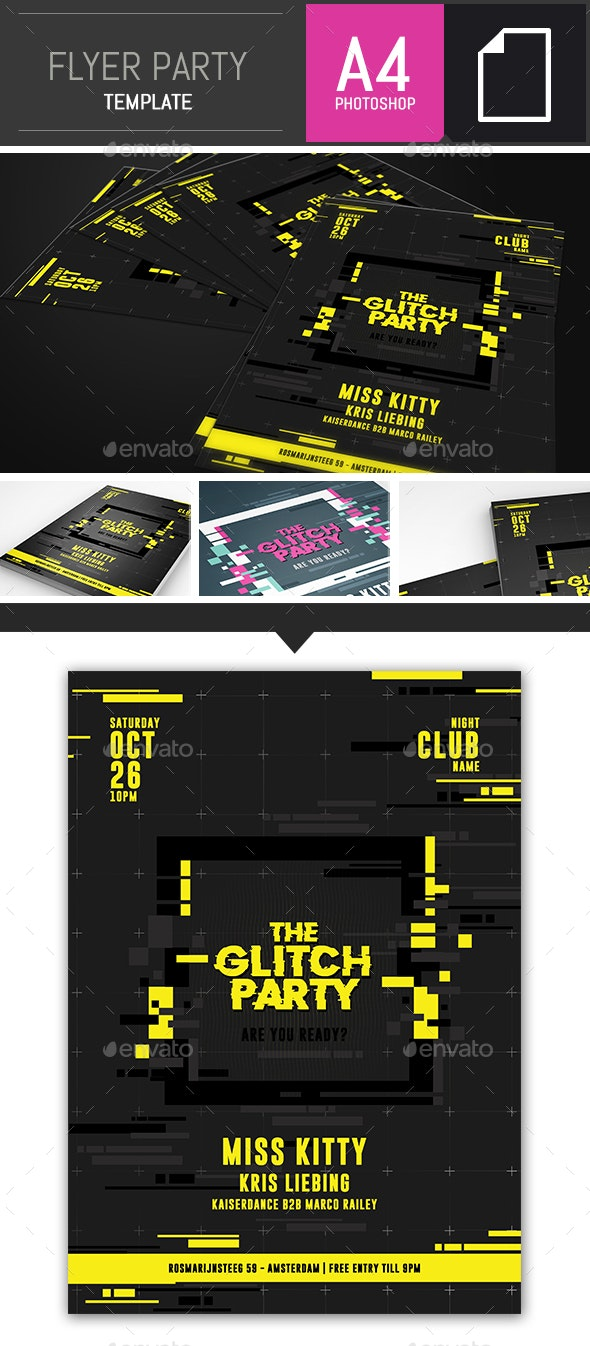 Glitch Party Flyer Template - A4 Photoshop - Clubs & Parties Events