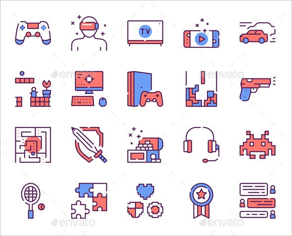 Leisure Activities Colorful Linear Icons Set - Computers Technology