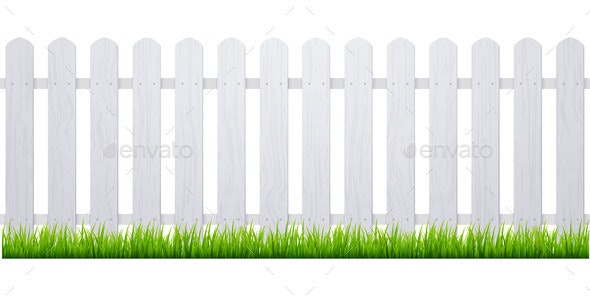 White Fence with Grass - Flowers & Plants Nature