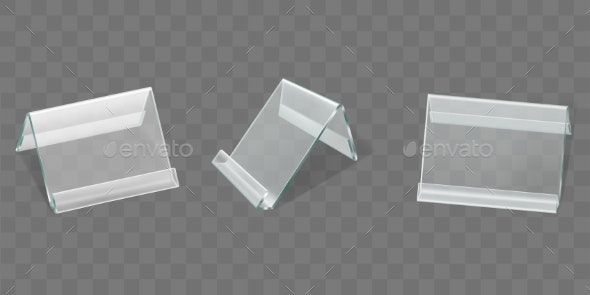 Angled Plastic Table Display Realistic Vector Set - Man-made Objects Objects