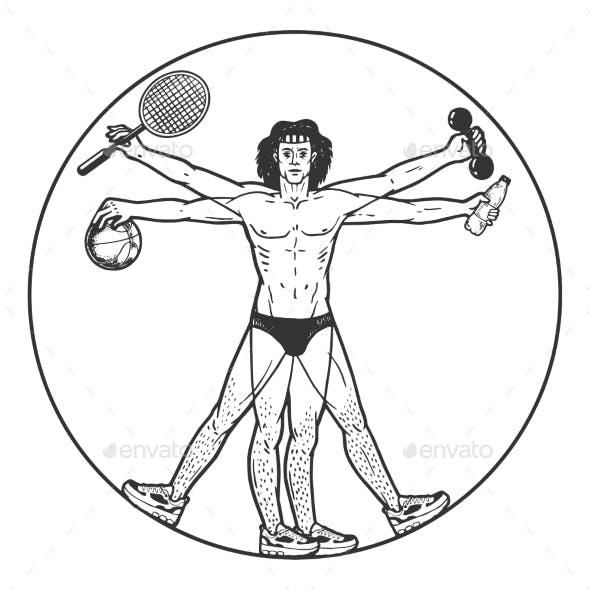Athlete Vitruvian Man Sketch Engraving Vector