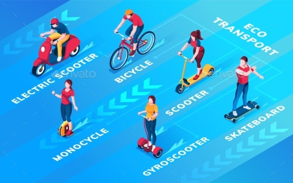 Set of People on Ecological Personal Transport - Miscellaneous Vectors