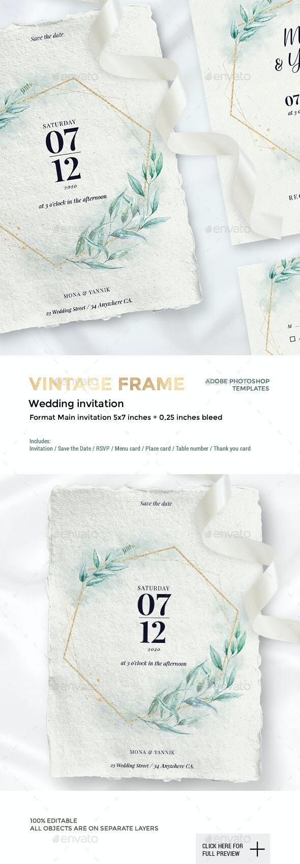 Vintage Frame - Wedding Collection - Weddings Cards & Invites