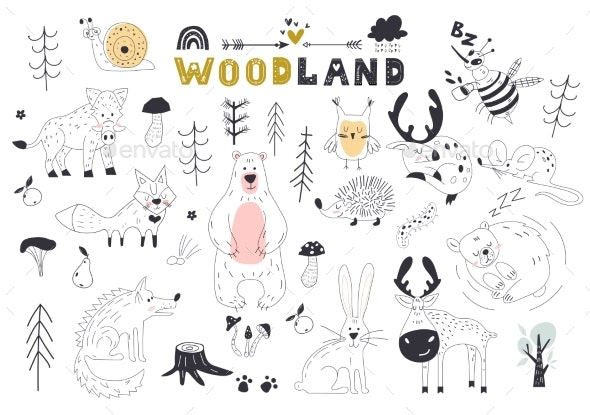 The Linear Vector Children Illustration Set - Animals Characters
