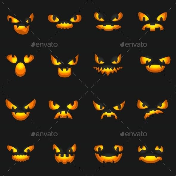 Scary Faces Glowing Silhouette Halloween Pumpkin - Halloween Seasons/Holidays