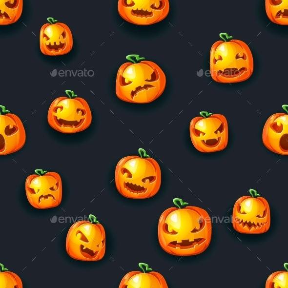 Scary Pumpkin Lantern Faces Seamless Halloween - Backgrounds Decorative