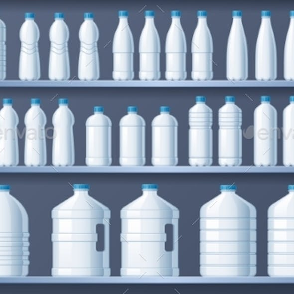 Plastic Bottles on Shelves Bottled Distilled