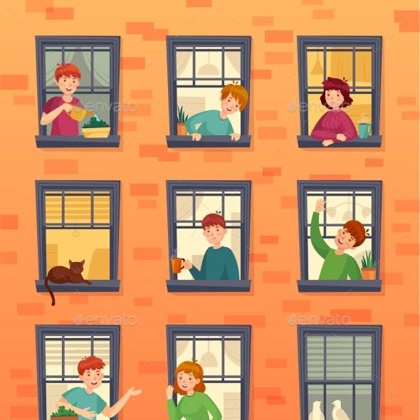 People in Window Frames Communicating Neighbors