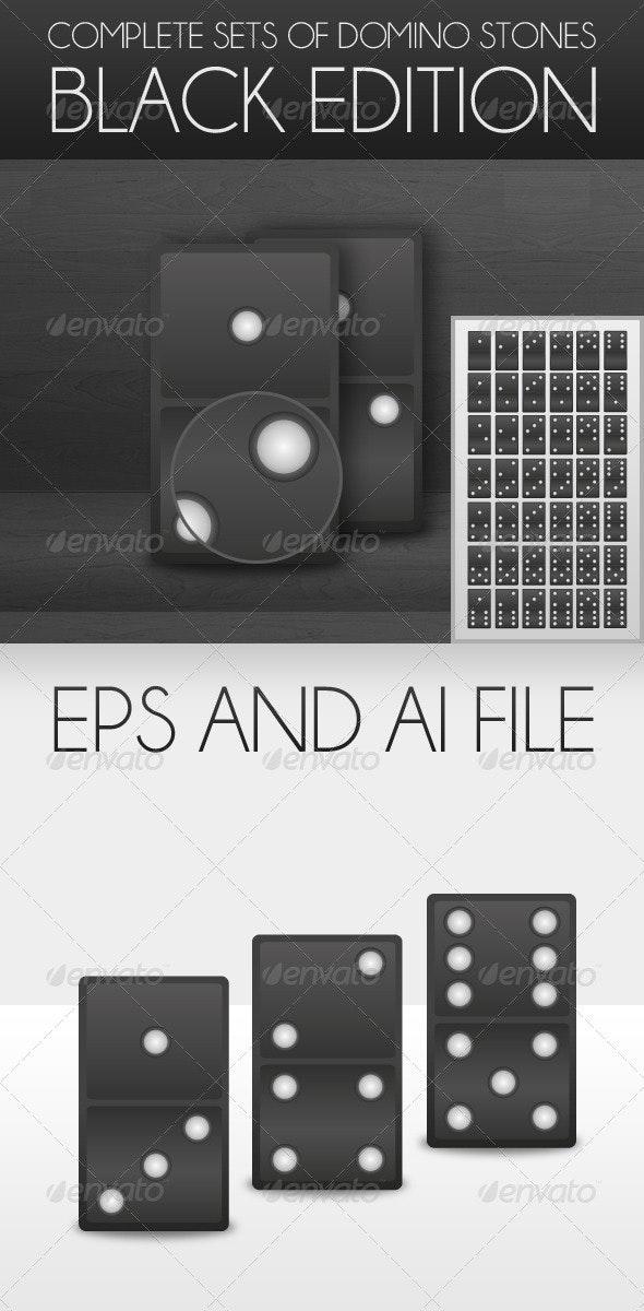 Complete Set of Domino Stones in Black - Miscellaneous Conceptual