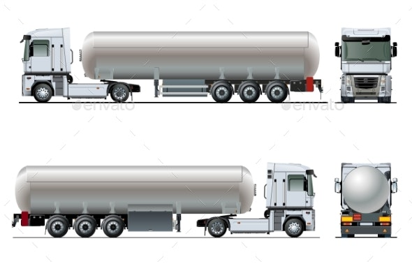 Vector Realistic Tanker Truck Template Isolated - Man-made Objects Objects