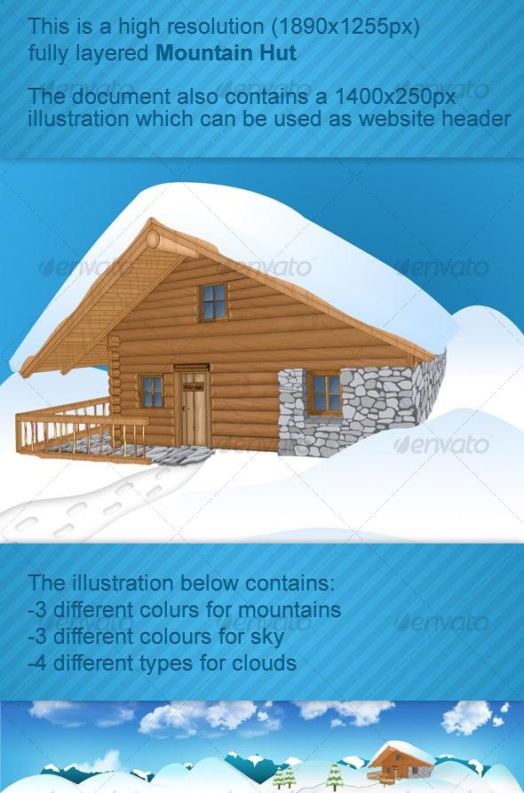 Mountain wood hut - 3D Backgrounds