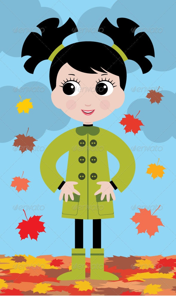 little girl in the autumn on walk - People Characters