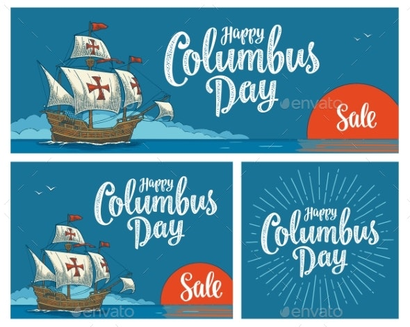 Posters for Happy Columbus Day Sailing Ship - Miscellaneous Seasons/Holidays