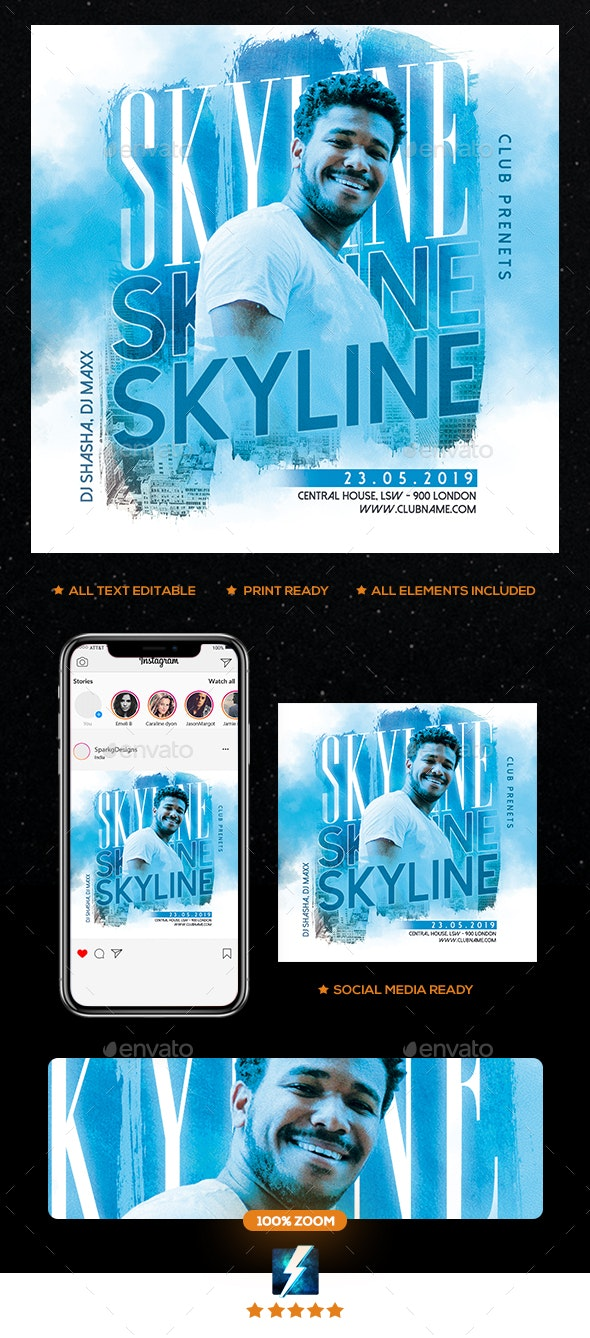 Skyline Flyer - Clubs & Parties Events