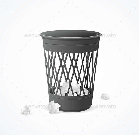 Realistic Detailed 3d Black Trash Can - Man-made Objects Objects