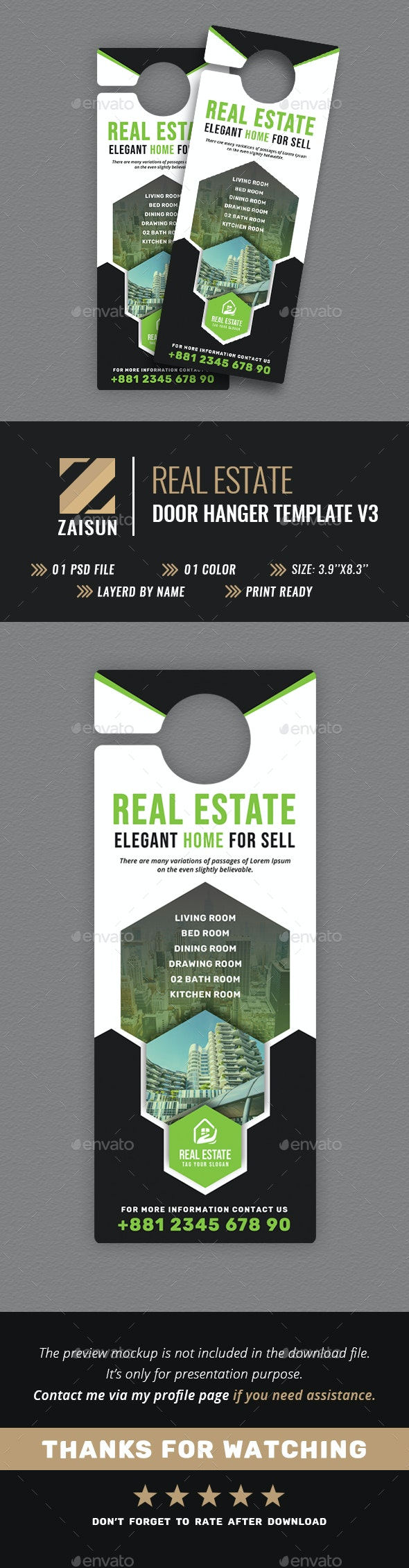 Real Estate Door Hanger V3 - Miscellaneous Print Templates