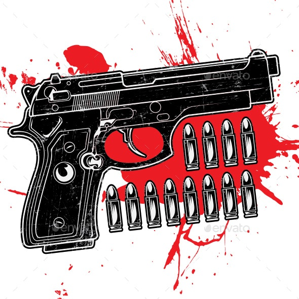 Gun Texture Grunge Black Red Vector illustration - Man-made Objects Objects