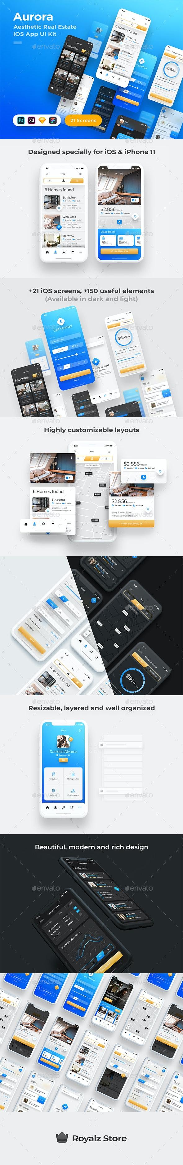 Aurora - Stunning Real Estate iOS App UI Kit - User Interfaces Web Elements
