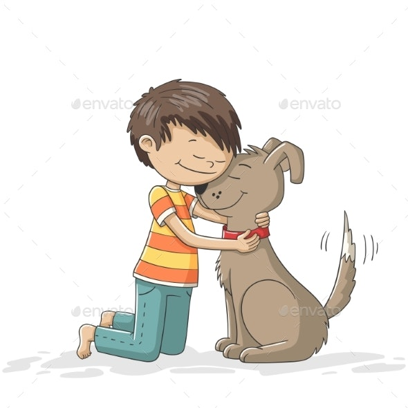 Boy and Dog - Animals Characters