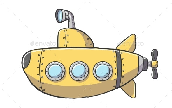 Yellow Cartoon Submarine - Man-made Objects Objects
