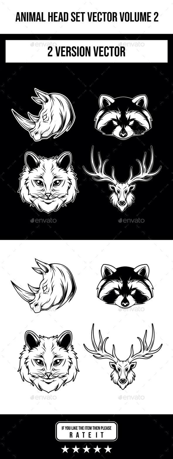 Animal Head Set Vector Volume 2 - Animals Characters