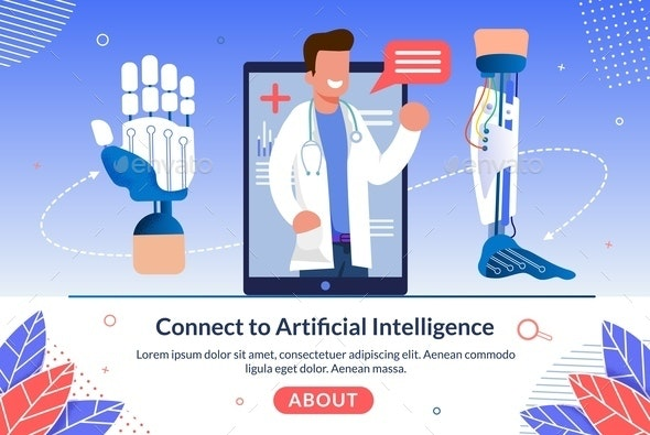 Technology Connect to Artificial Intelligence - Health/Medicine Conceptual