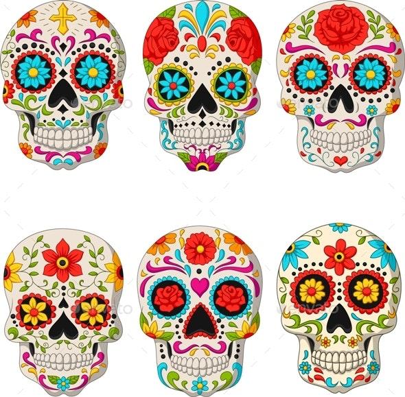 Day of the Dead Skulls - Tattoos Vectors