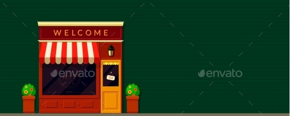 Shop Storefront Facade Vector Background in Retro - Buildings Objects