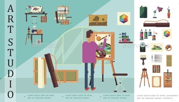 Flat Art Studio Colorful Concept - Miscellaneous Vectors