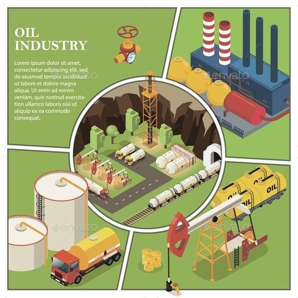Isometric Petroleum Industry Composition - Miscellaneous Vectors