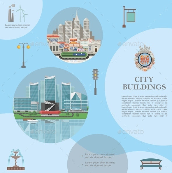 Flat City Elements Template - Buildings Objects