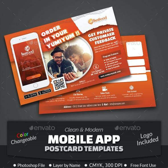 Mobile App Postcard Template