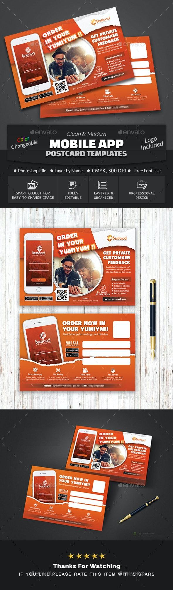Mobile App Postcard Template - Cards & Invites Print Templates