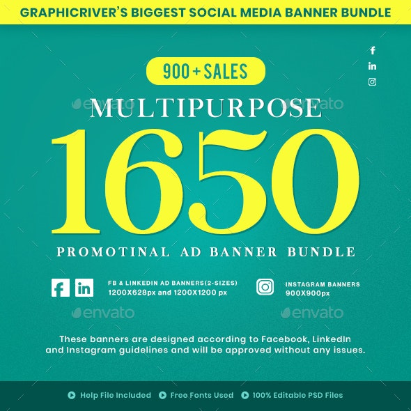 1650 Facebook & Instagram Ad Banners - Social Media Web Elements