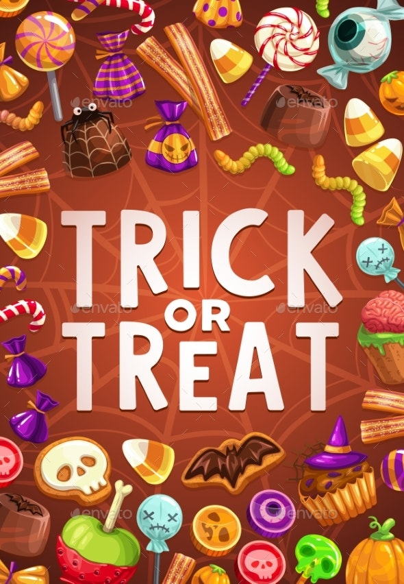 Halloween Candies and Sweets with Spider Net - Halloween Seasons/Holidays