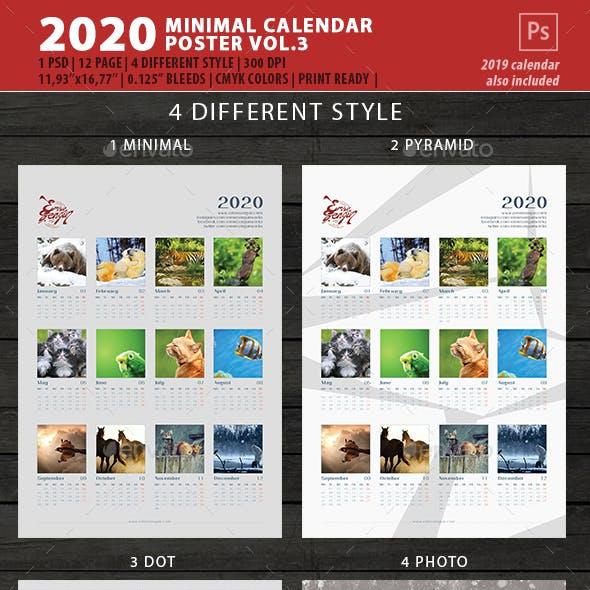 2020 Minimal Calendar Poster Wall Vol.3