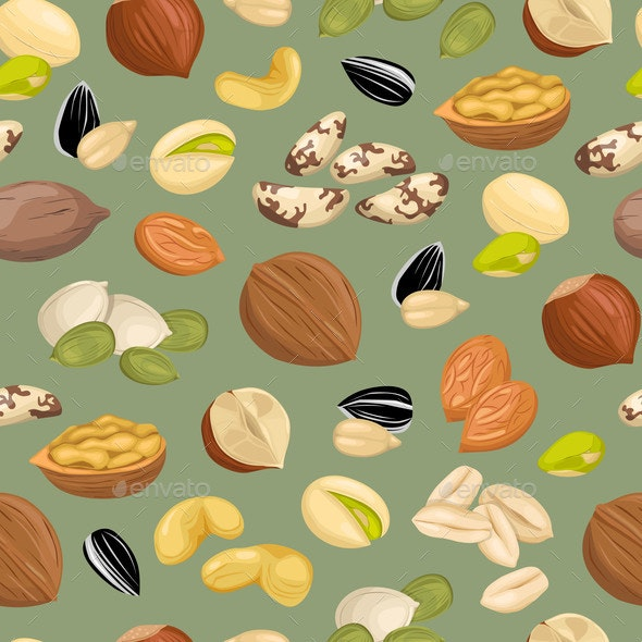 Pattern with Nuts. - Food Objects