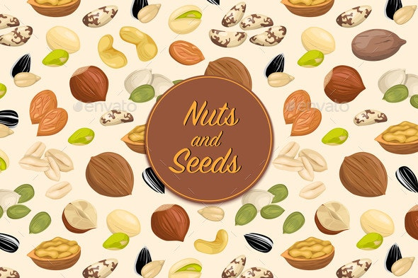 Flyer with Nuts and Seeds - Food Objects