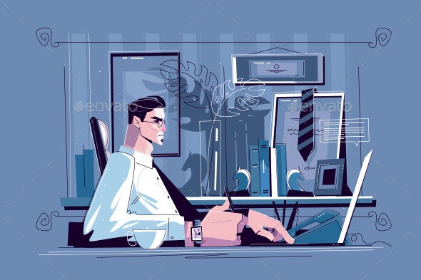 Businessman Sitting at Workplace - Concepts Business
