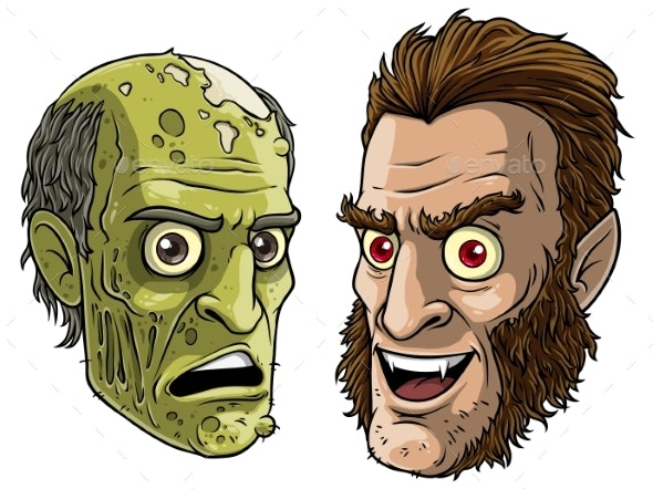 Cartoon Funny Green Zombie Monster and Werewolf - People Characters