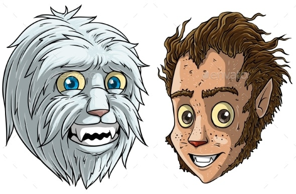 Cartoon Funny Little Bigfoot and Werewolf - People Characters