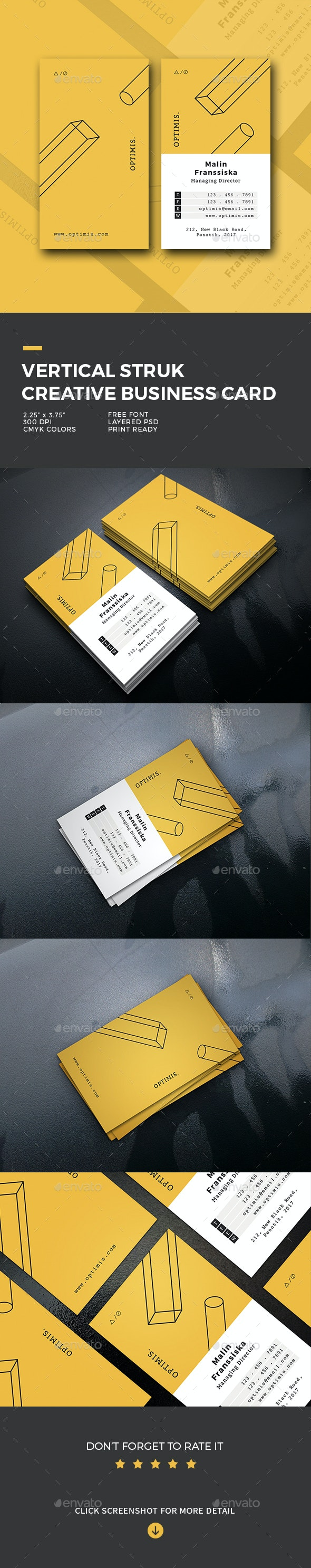 Vertical Struk Creative Business Card - Business Cards Print Templates