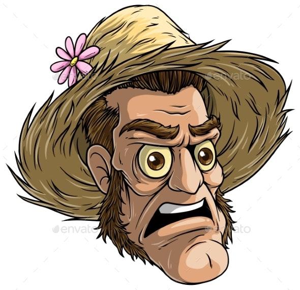 Cartoon Halloween Zombie Monster in Straw Hat - People Characters