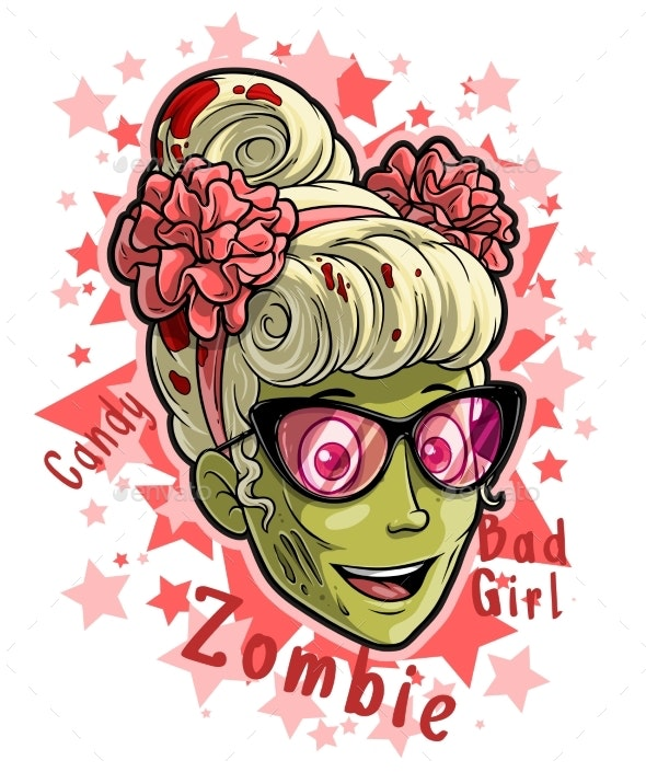 Cartoon Halloween Girl Zombie in Pink Sunglasses - People Characters