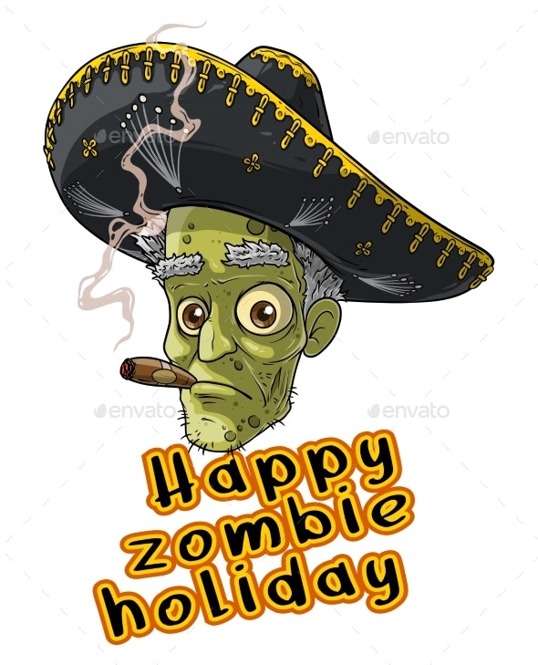 Cartoon Halloween Mexican Zombie Monster Character - People Characters